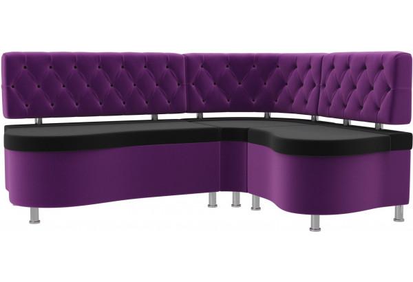 Кухонный угловой диван Вегас черный/фиолетовый (Микровельвет) - фото 1