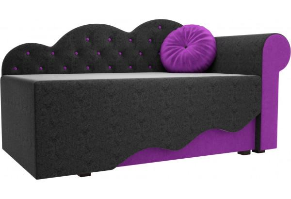 Детская кровать Тедди-1 черный/фиолетовый (Микровельвет) - фото 1