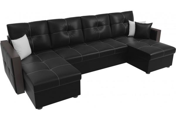 П-образный диван Валенсия Черный (Экокожа) - фото 4