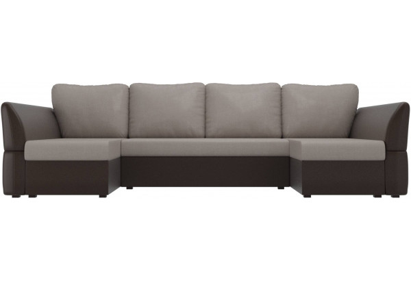 П-образный диван Гесен бежевый/коричневый (Рогожка/Экокожа) - фото 2
