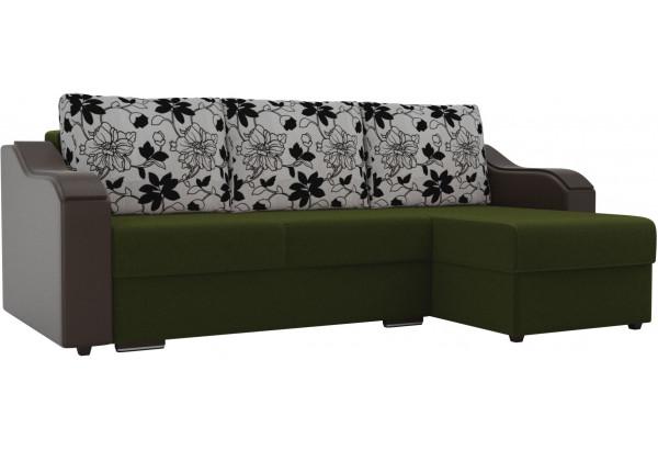 Угловой диван Монако Зеленый/Коричневый/Цветы (Микровельвет/экокожа/рогожка) - фото 1