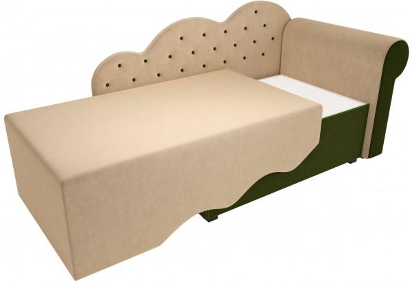 Детская кровать Тедди-1 бежевый/зеленый (Микровельвет) - фото 3