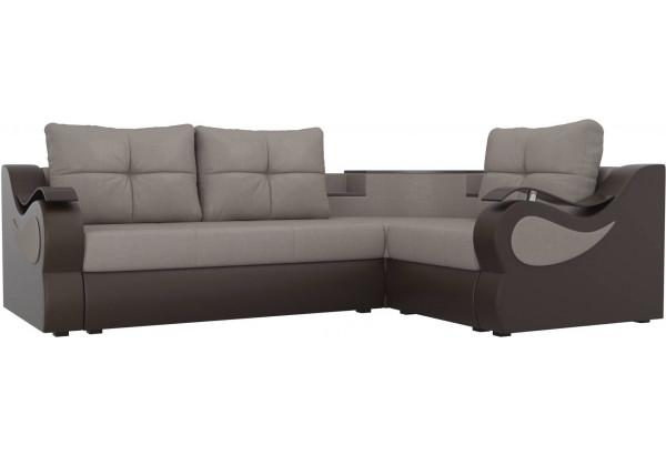 Угловой диван Митчелл бежевый/коричневый (Рогожка/Экокожа) - фото 1