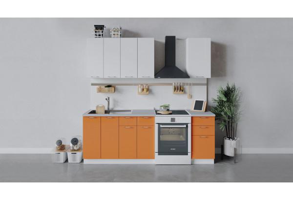 Кухонный гарнитур «Весна» длиной 160 см (Белый/Белый глянец/Оранж глянец) - фото 1