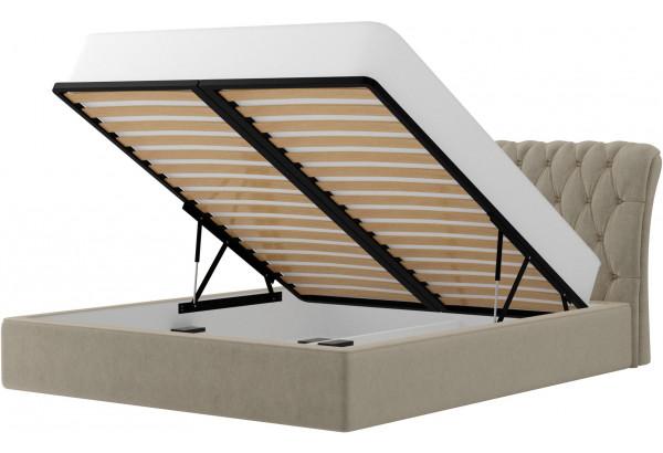 Интерьерная кровать Сицилия Бежевый (Микровельвет) - фото 2