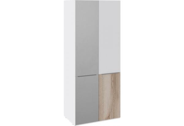 Шкаф для одежды с 1 зеркальной и 1 глухой дверью «Синди» (Белый глянец/Дуб Делано/Белый глянец) - фото 2