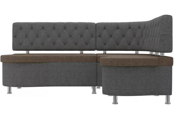Кухонный угловой диван Вегас коричневый/Серый (Рогожка) - фото 2