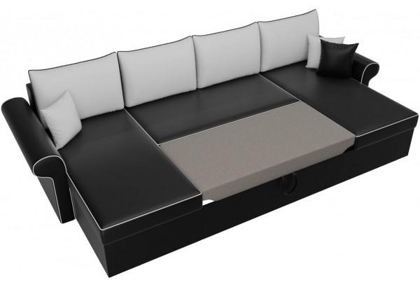 П-образный диван Милфорд Черный/Белый (Экокожа) - фото 6