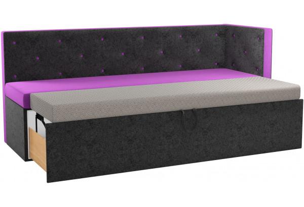 Кухонный диван Салвадор с углом Фиолетовый/Черный (Микровельвет) - фото 2