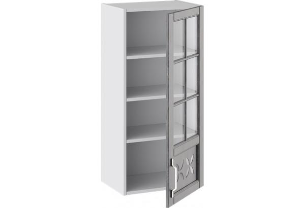 Шкаф навесной cо стеклом и декором (правый) (ПРОВАНС (Белый глянец/Санторини темный)) - фото 2