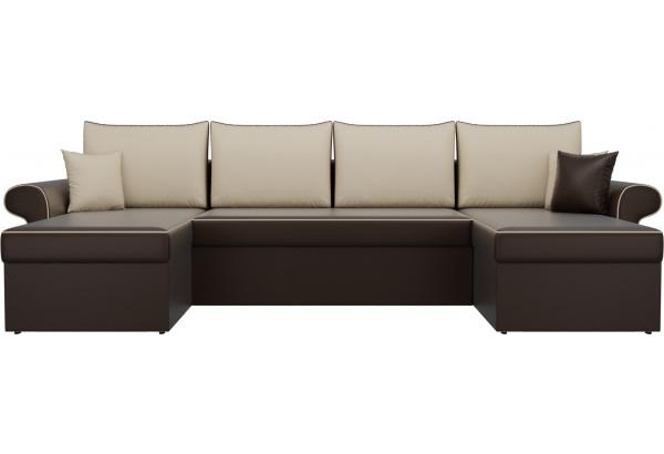 П-образный диван Милфорд Коричневый/Бежевый (Экокожа) - фото 2