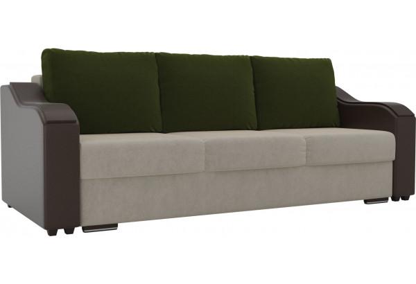 Прямой диван Монако бежевый/коричневый (Микровельвет/Экокожа) - фото 1