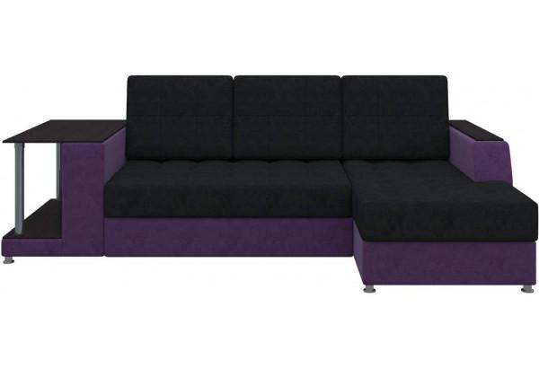 Угловой диван Атланта черный/фиолетовый (Микровельвет) - фото 2