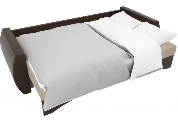 Прямой диван Сатурн бежевый/коричневый (Рогожка/Экокожа) - фото 7