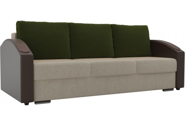 Прямой диван Монако slide бежевый/коричневый (Микровельвет/Экокожа) - фото 1