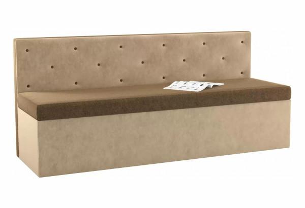 Кухонный прямой диван Салвадор Коричневый/Бежевый (Микровельвет) - фото 1