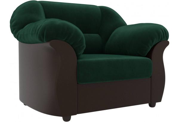 Кресло Карнелла зеленый/коричневый (Велюр/Экокожа) - фото 1