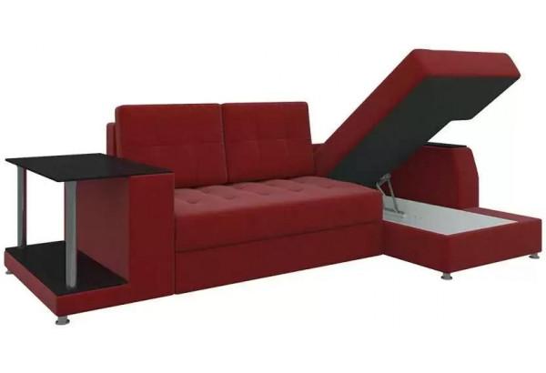 Угловой диван Атланта Красный (Микровельвет) - фото 4