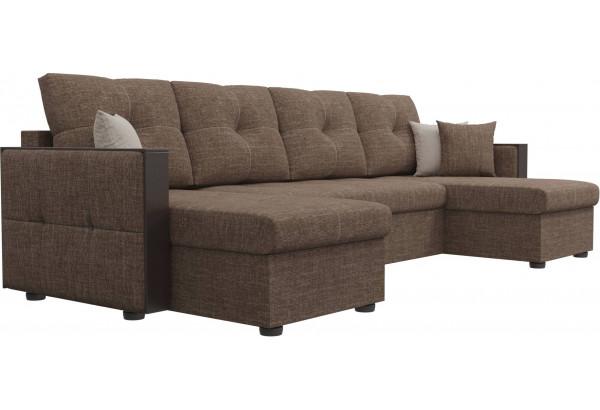 П-образный диван Валенсия Коричневый (Рогожка) - фото 3
