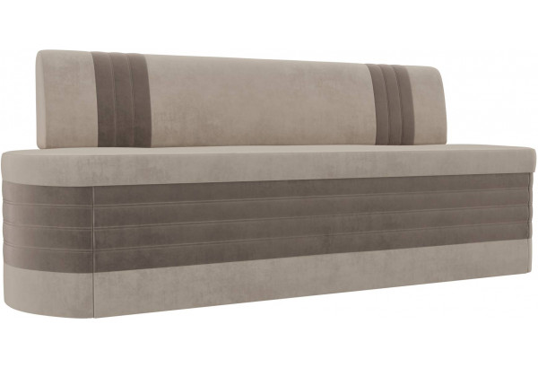 Кухонный прямой диван Токио бежевый/коричневый (Велюр) - фото 1
