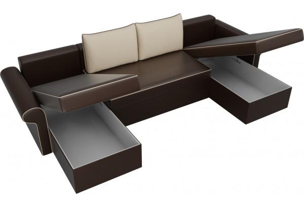 П-образный диван Милфорд Коричневый/Бежевый (Экокожа) - фото 5