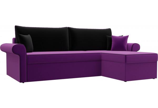 Угловой диван Милфорд Фиолетовый/Черный (Микровельвет) - фото 1
