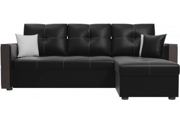 Угловой диван Валенсия Черный (Экокожа) - фото 2