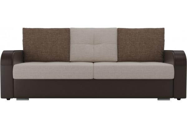 Прямой диван Мейсон бежевый/коричневый (Рогожка/Экокожа) - фото 3