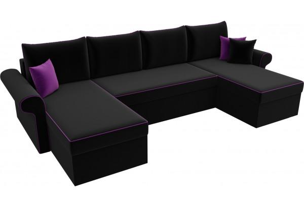 П-образный диван Милфорд Черный (Микровельвет) - фото 4