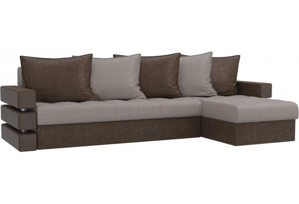 Угловой диван Венеция бежевый/коричневый (Рогожка) - фото 1
