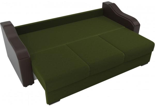 Прямой диван Монако зеленый/коричневый (Микровельвет/Экокожа/флок на рогожке) - фото 6