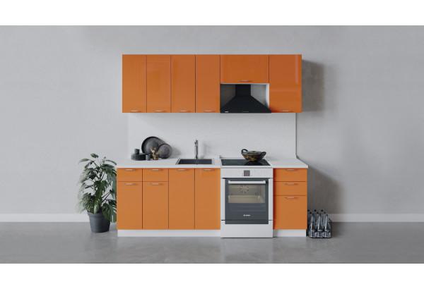 Кухонный гарнитур «Весна» длиной 220 см (Белый/Оранж глянец) - фото 1