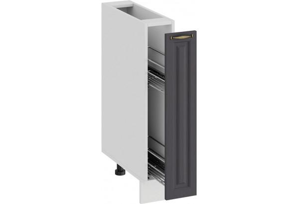 Шкаф напольный с выдвижной корзиной «Лина» (Белый/Графит) - фото 2