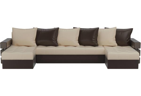 П-образный диван Венеция бежевый/коричневый (Экокожа) - фото 2
