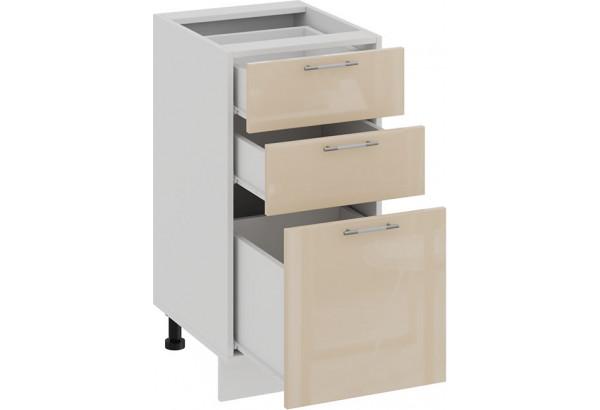 Шкаф напольный с тремя ящиками «Весна» (Белый/Ваниль глянец) - фото 2