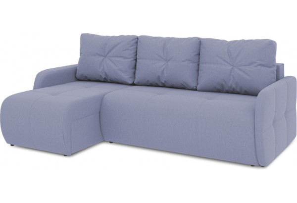 Диван угловой левый «Томас Slim Т1» (Poseidon Blue Graphite (иск.замша) серо-фиолетовый) - фото 1
