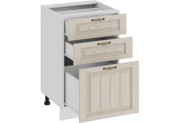 Шкаф напольный с тремя ящиками «Лина» (Белый/Крем) - фото 2