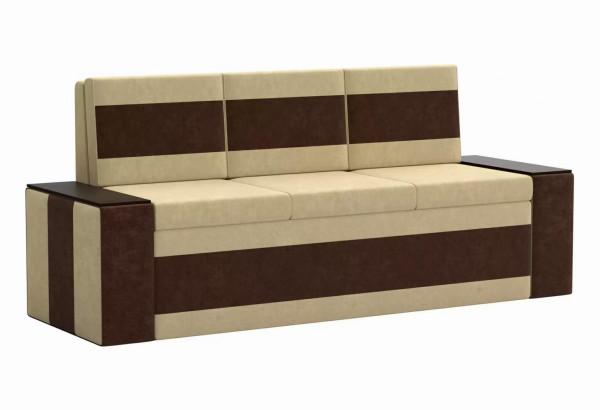 Кухонный прямой диван Лина бежевый/коричневый (Микровельвет) - фото 1