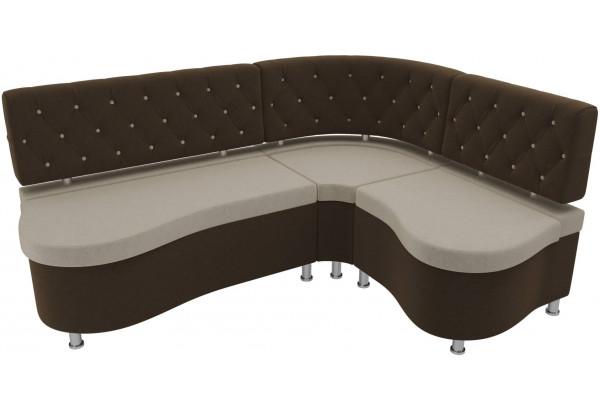 Кухонный угловой диван Вегас бежевый/коричневый (Микровельвет) - фото 4