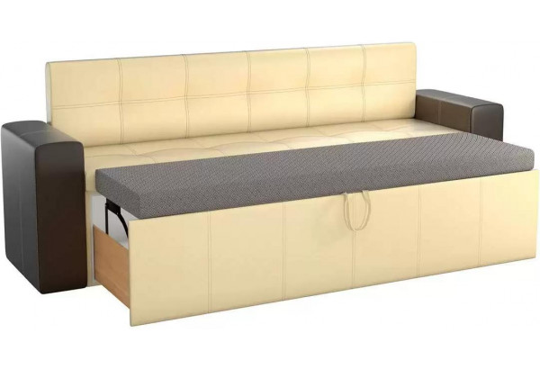 Кухонный прямой диван Династия бежевый/коричневый (Экокожа) - фото 2