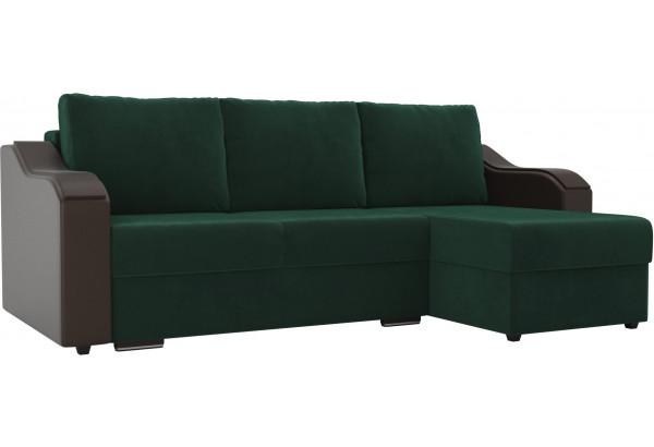 Угловой диван Монако зеленый/коричневый (Велюр/Экокожа) - фото 1