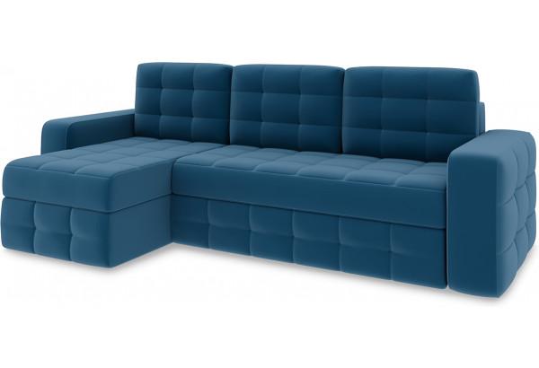 Диван угловой левый «Райс Т1» Beauty 07 (велюр) синий - фото 1