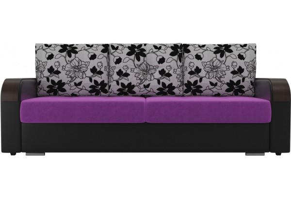 Прямой диван Мейсон Фиолетовый/Черный (Микровельвет/Экокожа/флок на рогожке) - фото 2