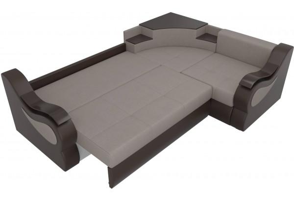 Угловой диван Митчелл бежевый/коричневый (Рогожка/Экокожа) - фото 7