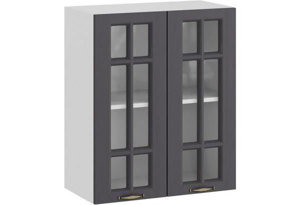 Шкаф навесной c двумя дверями со стеклом «Лина» (Белый/Графит) - фото 1