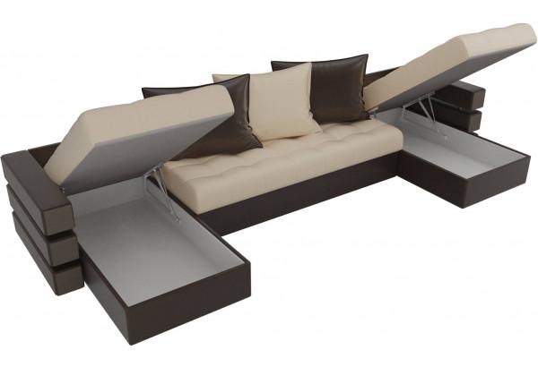 П-образный диван Венеция бежевый/коричневый (Экокожа) - фото 5