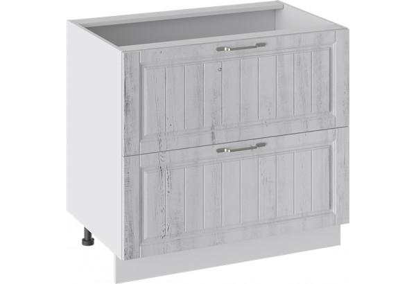 Шкаф напольный с 2-мя ящиками (ПРОВАНС (Белый глянец/Санторини светлый)) - фото 1