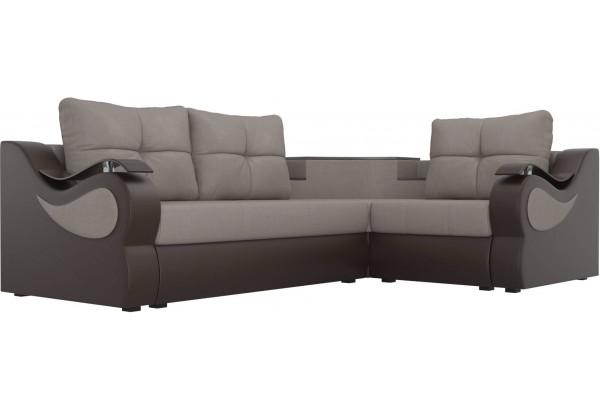 Угловой диван Митчелл бежевый/коричневый (Рогожка/Экокожа) - фото 3