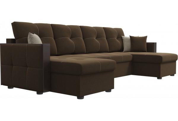 П-образный диван Валенсия Коричневый (Микровельвет) - фото 3