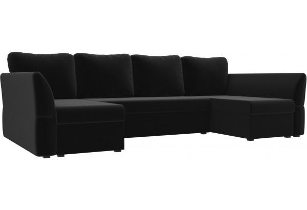 П-образный диван Гесен Черный (Микровельвет) - фото 1